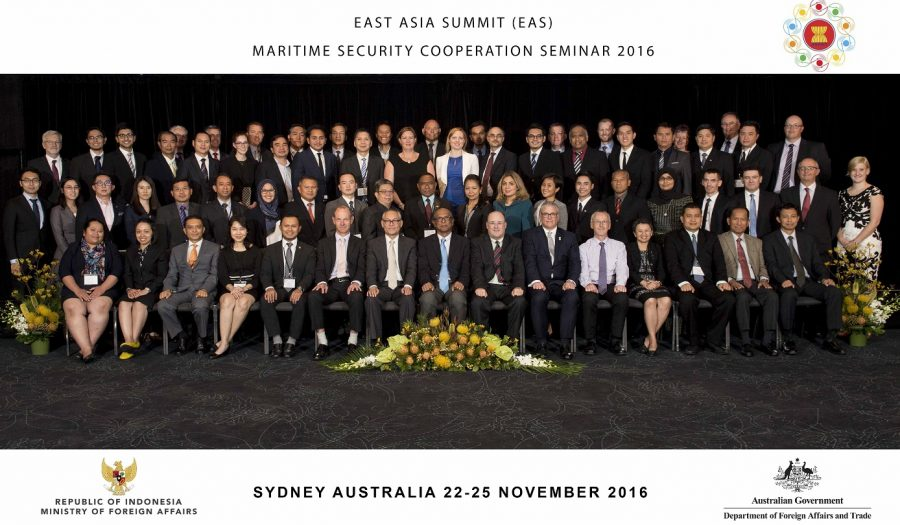 East Asia Summit (EAS) Maritime Security Cooperation Seminar Hosted at Park Royal Hotel, Sydney. Dr Alan Ryan is the Executive Director at the Australian Civil-Military Centre. The seminar aimed to enhance the understanding of the use of commercial vessel information to improve regional and domestic maritime security in an all-hazards environment. It identified existing arrangements, national best practices, and options to improve maritime security-related information sharing.