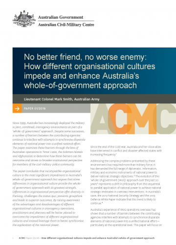 No better friend, no worse enemy: How different organisational cultures impede and enhance Australia's whole-of-government approach_cover image